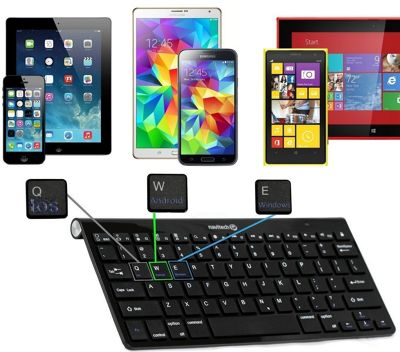 Navitech Black Wireless Bluetooth Multi OS Keyboard For The All-New Fire HD 8 Tablet with Alexa, 8