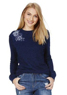 F&F Embroidered Denim-Look Sweatshirt 12 Blue