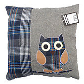 Country Club Wise Owl Design Filled Scatter Cushion, Grey