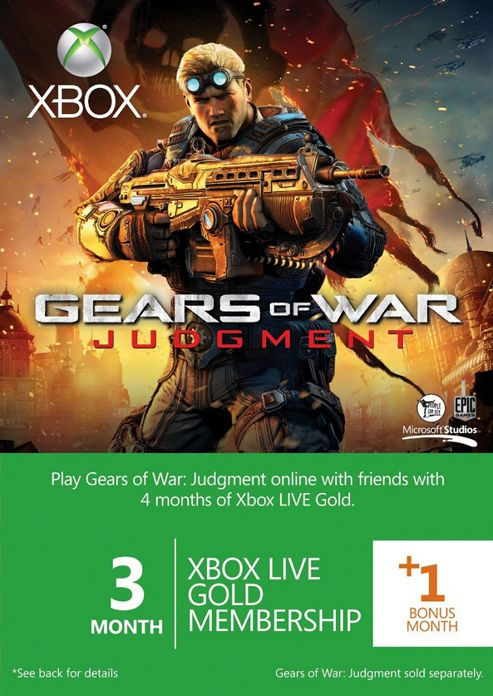 Xbox Live Gold 3-Month Membership Card With 1 Bonus Month: Gears Of War Judgment Branded