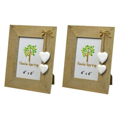 Nicola Spring Wooden Photo Picture Frame With White Hearts - 4 x 6
