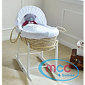 palm Moses Basket With Mattress, Cover and Rocking Stand (Teddy)
