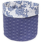 Country - Decorative Storage Pot - Blue / White