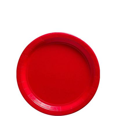 Red Plates - 17cm Paper Party Plates - 50 Pack