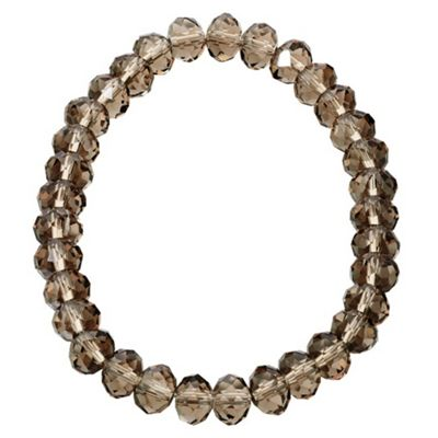 Grey Glass Bead Stretch Bracelet