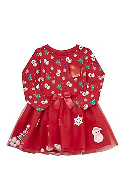 F&F Novelty Christmas Tutu Dress - Red