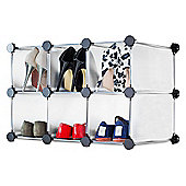 Andrew James Shoe Organiser - 6 Hole Shoe Rack in White