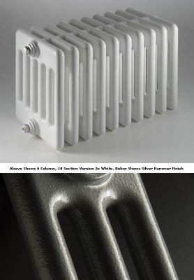 DQ Heating Peta 4 Column Designer Radiator - 742mm High x 225mm Wide - 5 Sections - Silver Hammer