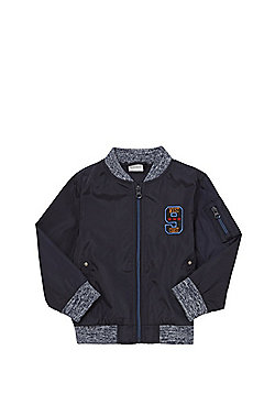 F&F Embroidered Badge Bomber Jacket - Navy