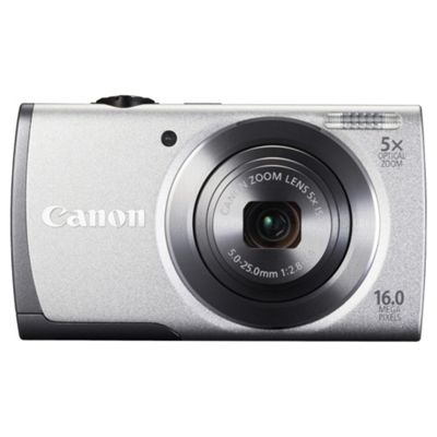Canon A3500 Digital Camera Silver, 16MP, 5x Optical Zoom, 2.7