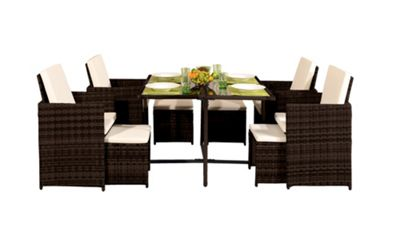 Comfy Living 9PC Rattan Outdoor Garden Patio Furniture Set In Brown - 4 Chairs 4 Stools & Dining Table