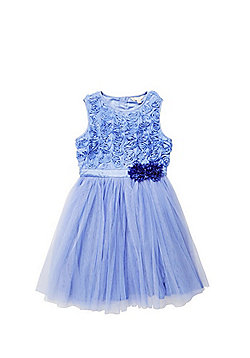 Yumi Girl Textured Rose Tulle Dress - Blue