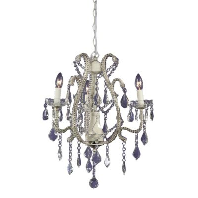 Marie Therese Cream Crack Chandelier - 3 Arm