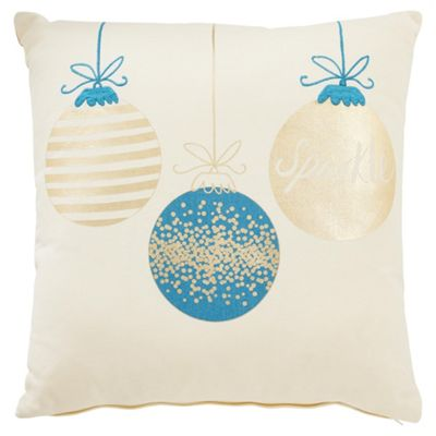 Tesco Christmas Sparkle Spot Cushion Teal