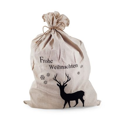 Large Merry Christmas (Frohe Weihnachten) Linen Christmas Sack