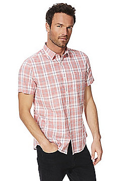 F&F Checked Short Sleeve Shirt - Coral