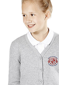 Girls Embroidered Jersey School Cardigan with As New Technology - Grey