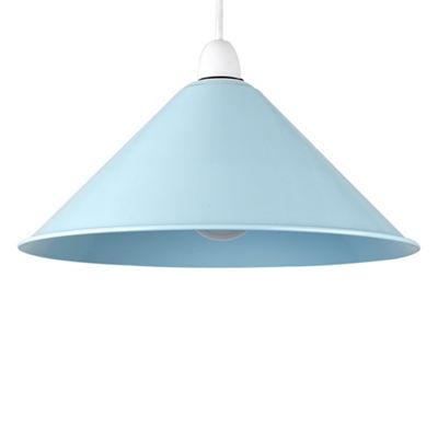 MiniSun Waywell Non Electric Tapered Metal LED Pendant Shade - Duck Egg Blue - ES E27