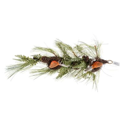 Homescapes Artificial Replica Pine Branch Christmas Swag with Robins Nests