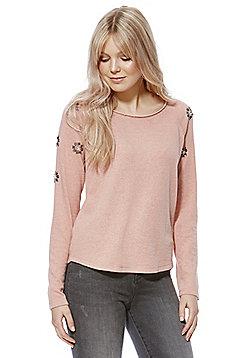 Only Floral Embellished Sweatshirt - Rose