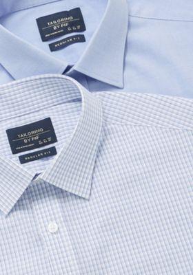 F&F 2 Pack of Regular Fit Long Sleeve Shirts Blue 18.5
