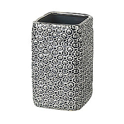 Parlane Pretty Square Dark Grey Ceramic 'Maya' Vase - 21 x 12.5cm