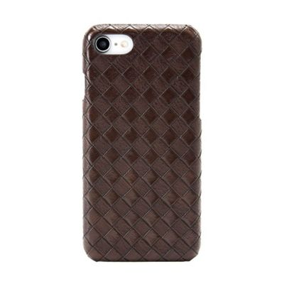 iPhone 8 Faux Leather Rhomb Effect Pattern Protective Case - Brown