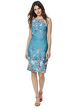 Yumi Floral Print Jersey Dress - Teal
