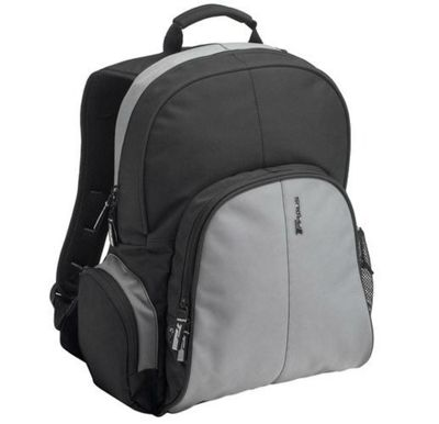 Targus TSB023EU Essential Laptop Computer Backpack fits 15.4 - 16 inch laptops, Black/Grey