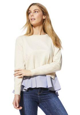 Only 2 in 1 Shirt Hem Jumper Cream XL
