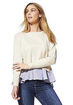 Only 2 in 1 Shirt Hem Jumper - Cream
