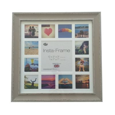 Inov8 Wash Soft Stone Instagram Photo Frame for 13 Instagram Photos with White Mount and White Inset
