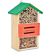 Andrew James Bug Hotel Insect House for Garden Wildlife - Natural Wood with Hanging Hook
