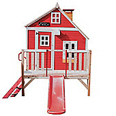 Crooked Penthouse Wooden Playhouse with Slide 6ft x 4ft