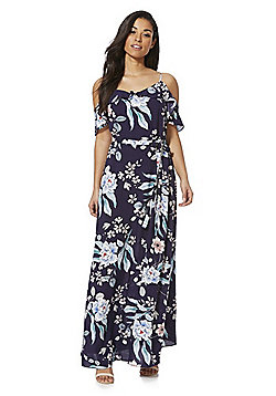 F&F Floral Cold Shoulder Maxi Dress - Navy