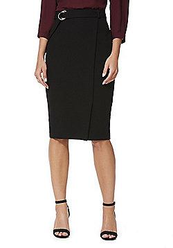 F&F Asymmetric Hem Ring Belt Pencil Skirt - Black