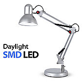 Adjustable Daylight LED Desk Lamp, Silver