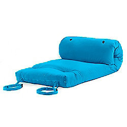 Turquoise Cotton Twill 'Brooklyn' Roll Up Camping Futon Mattress