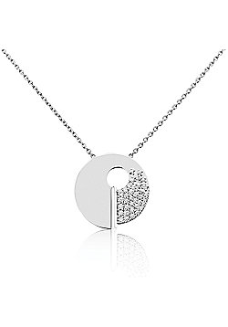Ladies 18ct White Gold 20mm Flat Spiral Pave Diamond Charm Necklace