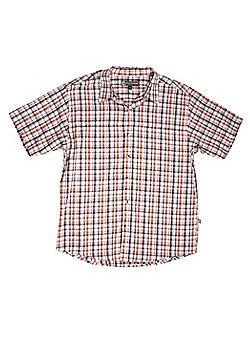 Mens Eli Short Sleeve Cotton Travel Lightweight Ckecked Walking Hiking Shirt - Orange