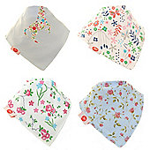 Award Winning, Gift Boxed, Baby Girls Bandana Dribble Bib 4 pack Delicate Blues by Zippy