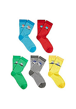 F&F 5 Pair Pack of Striped Monster Face Socks - Multi