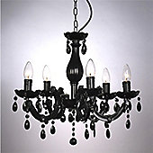 Marie Therese Five Way Ceiling Light Chandelier, Black