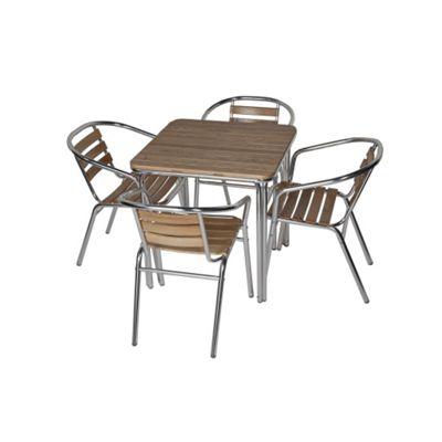 BrackenStyle Aluminium & Ash Dining Set - Seats 4
