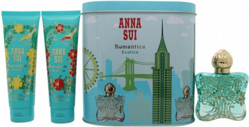Anna Sui Romantica Exotica Gift Set 50ml EDT + 100ml Body Lotion + 100ml Shower Gel + Music Box For Women