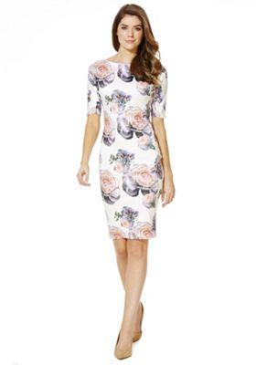 AX Paris Floral Bodycon Dress 10 White