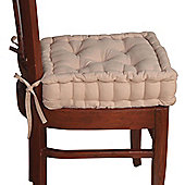 Homescapes Cotton Dining Chair Booster Cushion Taupe Beige