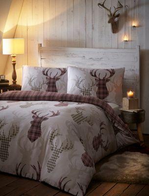 Tartan stag duvet cover and pillowcase set - natural - single
