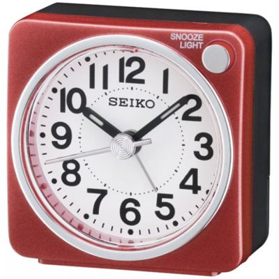 Seiko QHE118R Bedside Alarm Clock│Small Travel Clock│Snooze Light│Red│