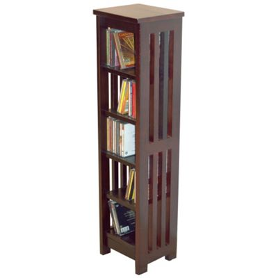 Techstyle Solid Wood CD / Media Storage Shelves - Dark Brown
